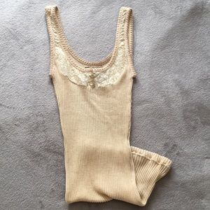 Free People Tank with Lace and Button Detail